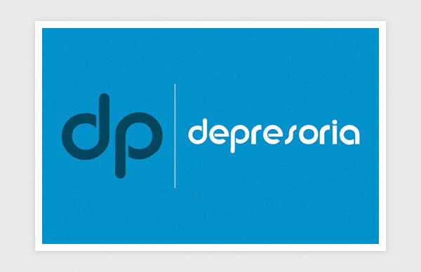 Logo design for Depresoria (horizontal negative)
