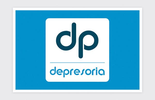 Logo design for Depresoria (square negative)