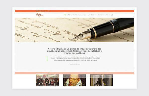 A Flor de Pluma web homepage.