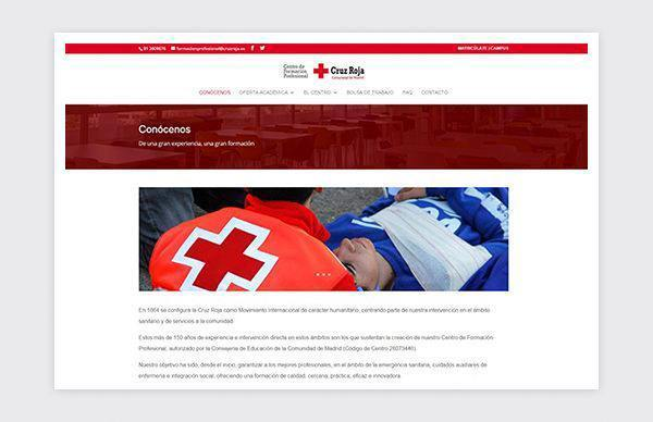 Website of the Vocational Training Center Red Cross of the Community of Madrid