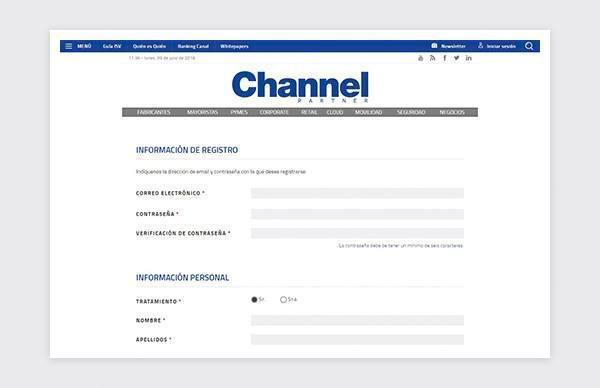 Register page of the Channel Partner website