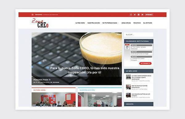 Red Cross communication website, ZONA CREO
