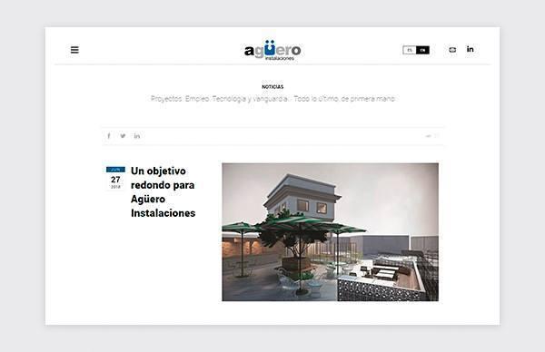 Página de noticias de la web de Agüero Instalaciones