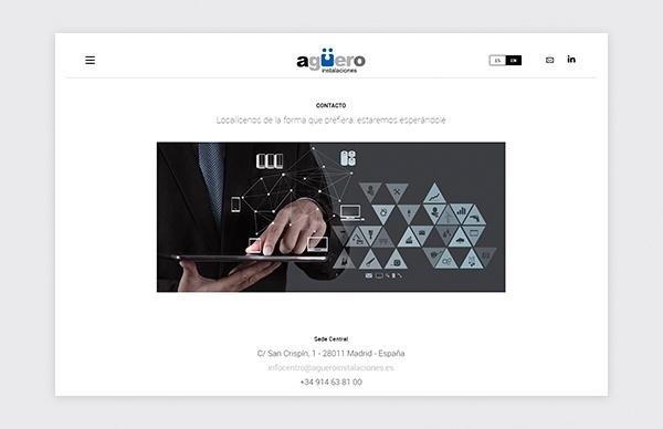 Página de contacto de la web de Agüero Instalaciones