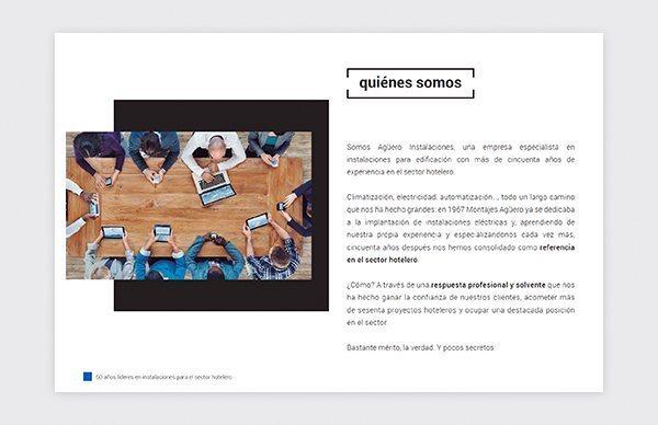 Diseño y creación de presentación de empresa para Agüero Instalaciones