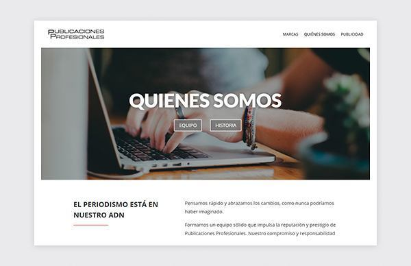 About us page of Publicaciones Profesionales website