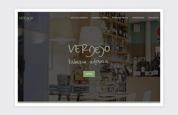 Página de inicio web Taberna Artesana Verdejo