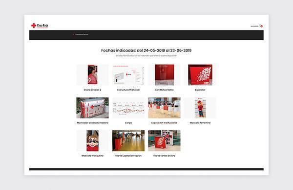 Listado de productos plataforma reservas online Cruz Roja Madrid