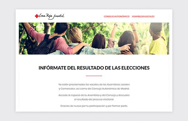 Página de inicio de la web para el proceso electoral de Cruz Roja Juventud 2019