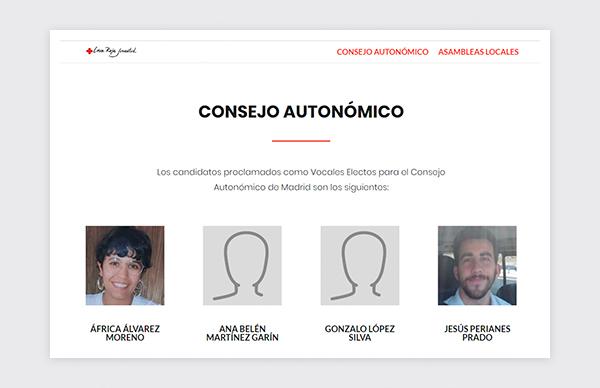 Página de Consejo Autonómico de la web para el proceso electoral de Cruz Roja Juventud 2019