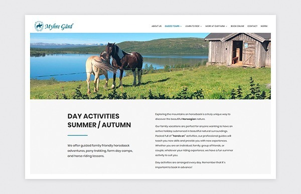 Page of About Us on the Myhre Gård website