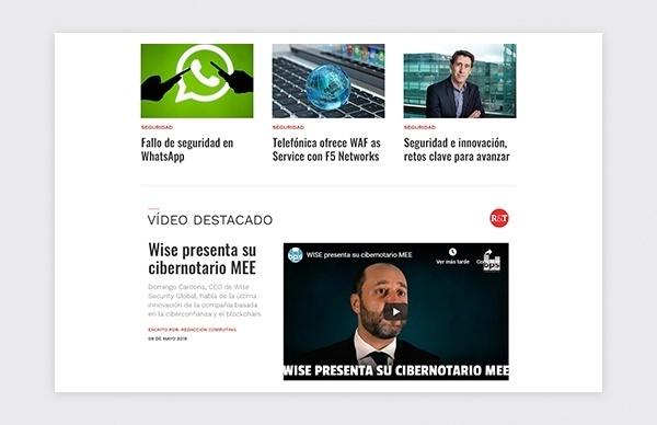 Página de inicio de la web de la revista Redes Telecom