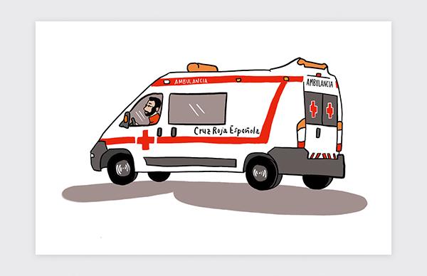 Illustration des véhicules institutionnels de la Croix-Rouge