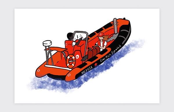 Illustration des déplacements en bateau de la Croix-Rouge