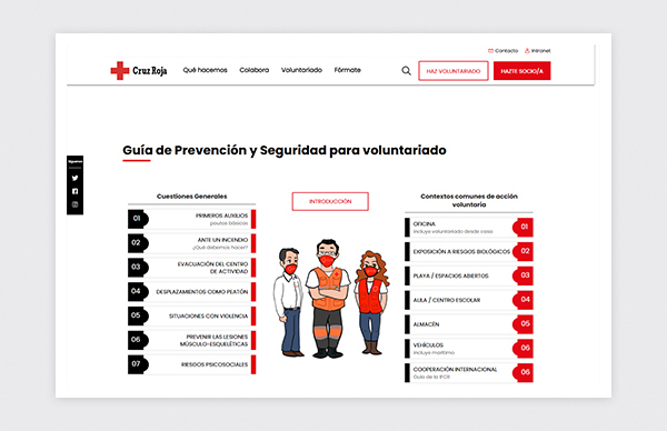 Home page of the Prevention and Safety Guide for Spanish Red Cross volunteers.