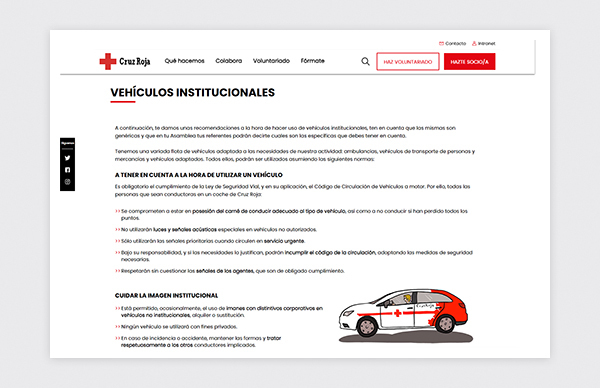 Institutional vehicles page of the Prevention and Safety Guide for Spanish Red Cross volunteers.