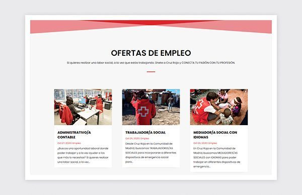 Job offers on the Madrid Red Cross Talent website