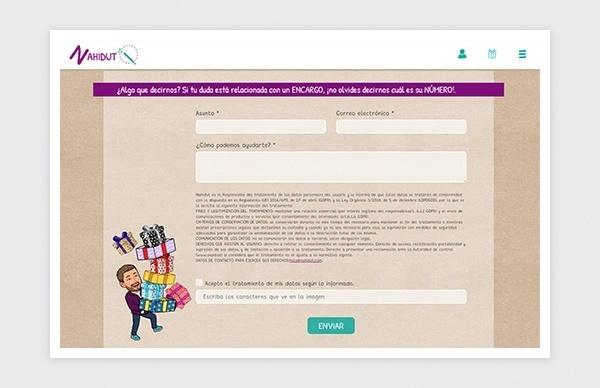 Página de contacto de la web de Nahidut