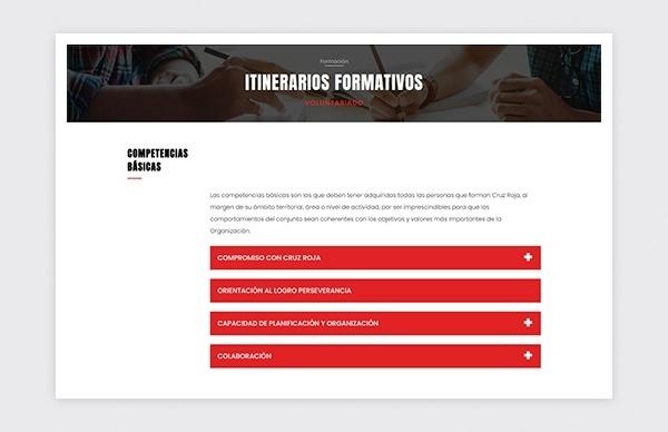 Página de itinerarios formativos del portal de formación de ZonaCREO