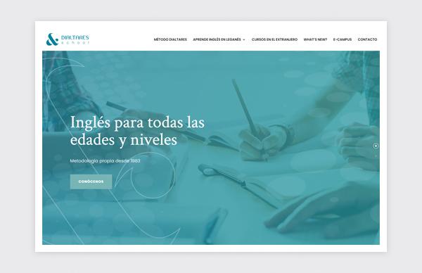 Página de inicio de la web de Dialtares School
