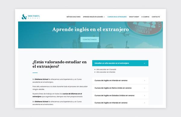 Página de Cursos en el extranjero de la web de Dialtares School