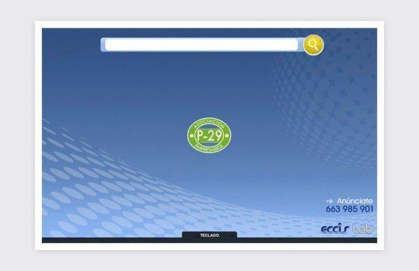 Página principal de la aplicación web.